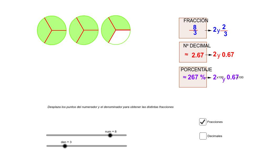 Con ayuda del mouse desplaza los deslizadores del numerador (num) y denominador (Dem) y descubre las diferentes relaciones entre las fracciones, los decimales y los porcentajes. Presiona Intro para comenzar la actividad