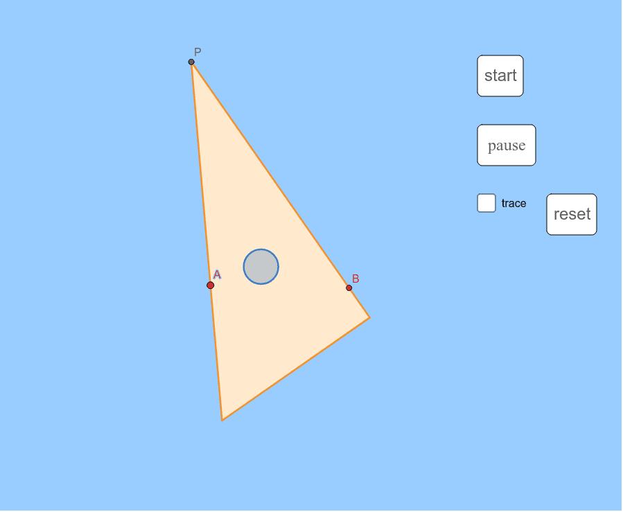 三角定規を2本のピンA,Bにあてながら動かしていくと、頂点Pは? 改訂版は https://www.geogebra.org/m/tahbxje4 ワークシートを始めるにはEnter キーを押してください。