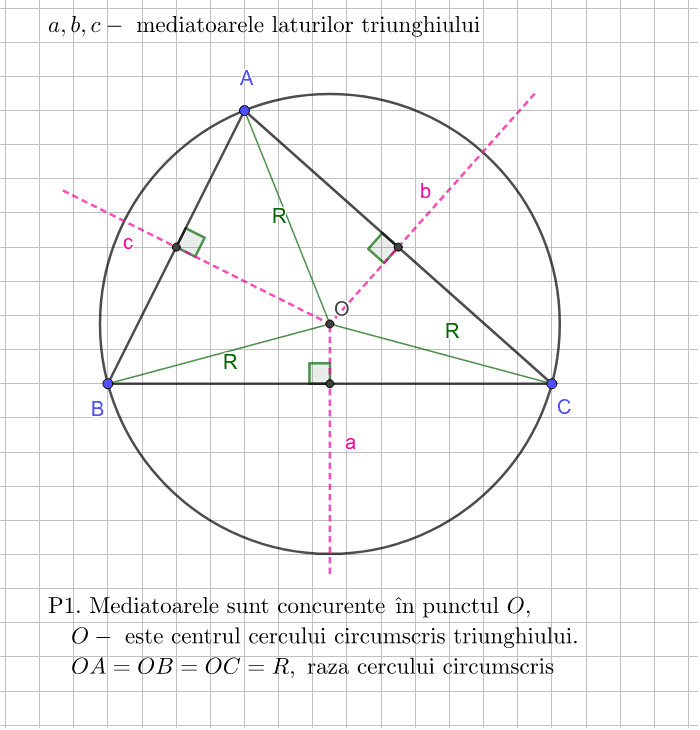 Triunghi, mediatoarea, cercul circumscris triunghiului Apăsați Enter pentru a începe activitatea
