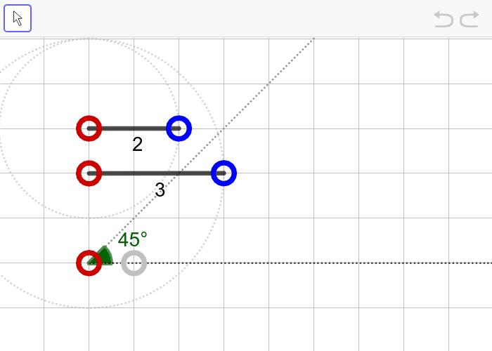 문제4. 두 변의 길이가 2, 3이고 3인 변의 대각의 크기가 45º인 삼각형(SSA) 활동을 시작하려면 엔터키를 누르세요.