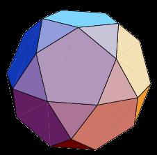 Opmerking: draai je vervolgens hun grondvlakken over een hoek van 36° dan krijg je een icosidodecaëder, een archimedisch lichaam. Je kunt een vijfhoekige dubbelrotonde dan ook een gedraaide icosidodecaëder noemen.