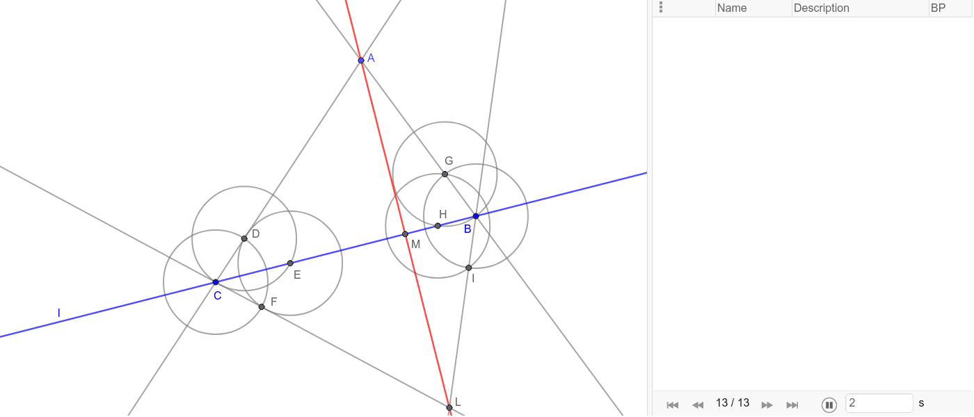 Using a ruler and rusty compass, given a line l and a point A more than two inches away from l, construct the perpendicular to l passing through A. (par = 12, done in 11). Premi Invio per avviare l'attività