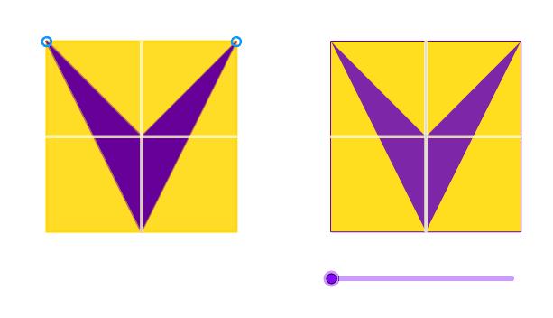 """Quelle est l'aire du chevron violet ? Le grand carré jaune est de côté 2.  Tapez """"Entrée"""" pour démarrer l'activité"""