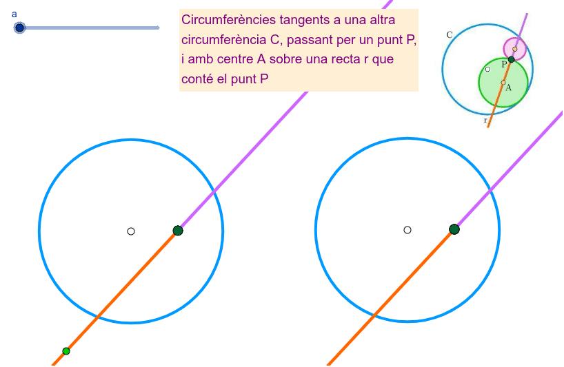 Circumferències tangents a una altra, amb centre i un punt sobre una recta donada