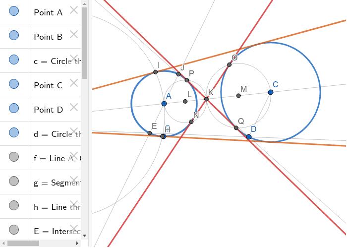 Common tangents of circles (construction) - Společné tečny kružnice (konstrukce)