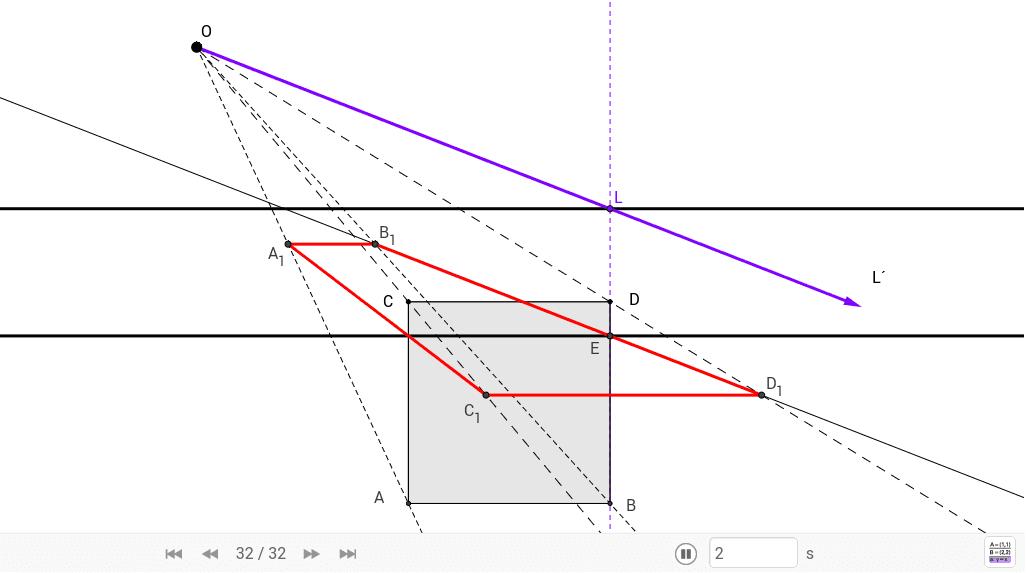 A partir del cuadrado ABCD y de los datos de homología (centro, eje, recta límite) halla su figura homologa transformada.