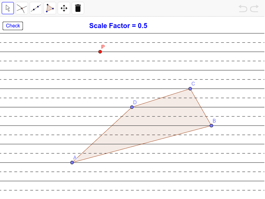 Dilate quadrilateral ABCD by the given scale factor with center of dilation P.