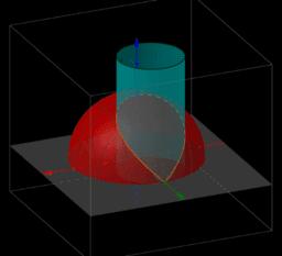 Curva de inteseção de semi-esfera com cilindro