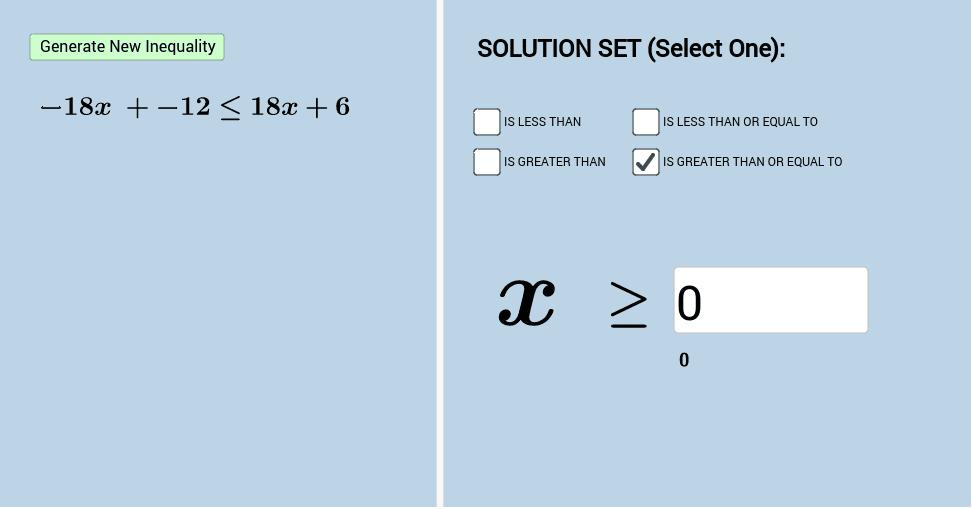 Practice Solving Inequalities (Level 2).  Press Enter to start activity