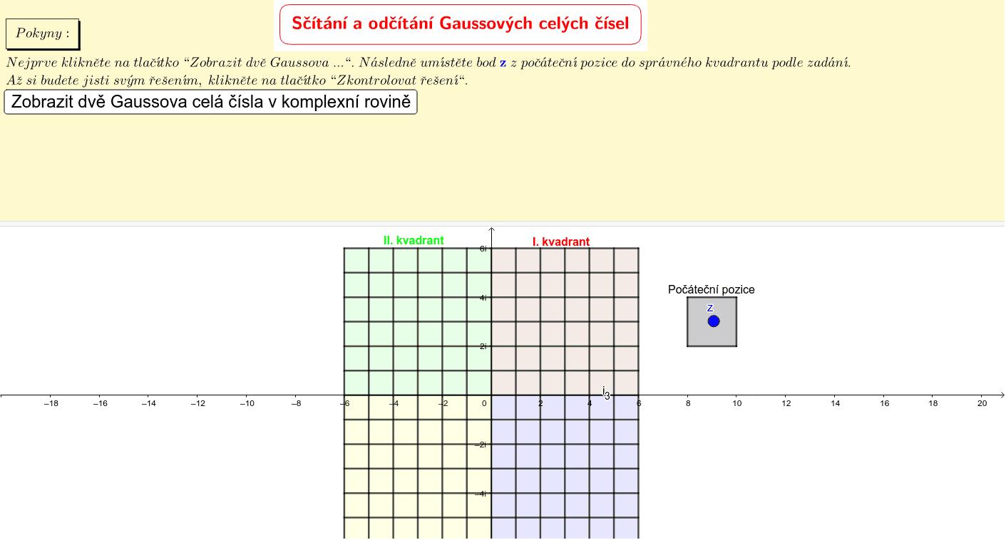 Sčítání a odčítání Gaussových celých čísel