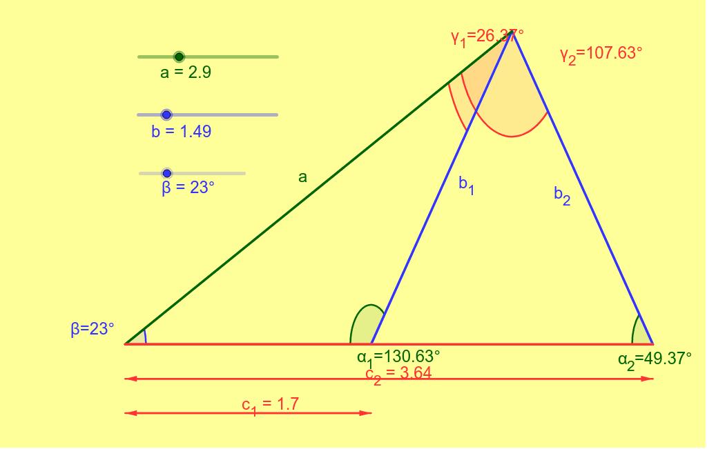 Teorema de seno, caso ambiguo.