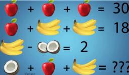 Likningssett: Epler, bananer og kokosnøtter i Cas