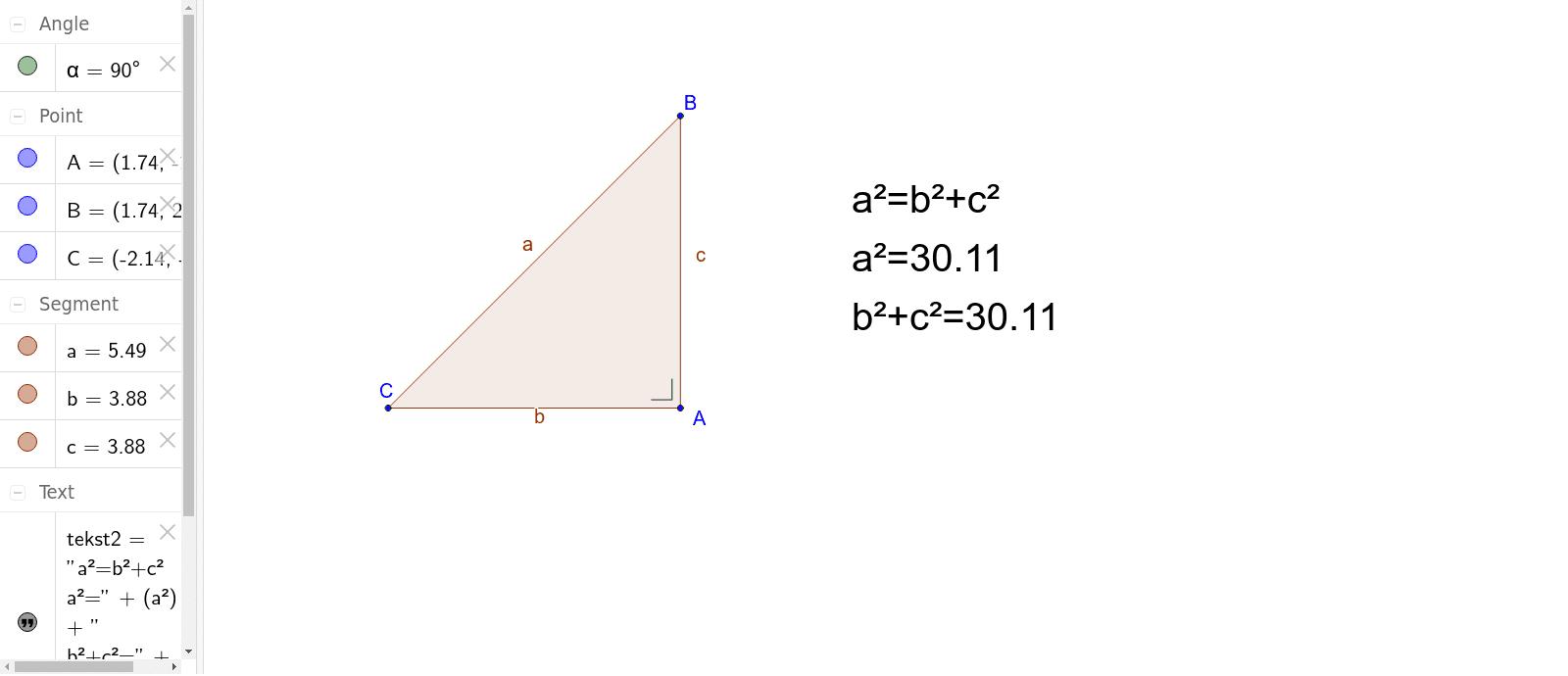 Versleep hoek A, B of C om een grotere of kleinere rechthoekige driehoek te bekomen. Klik op Enter om de activiteit te starten