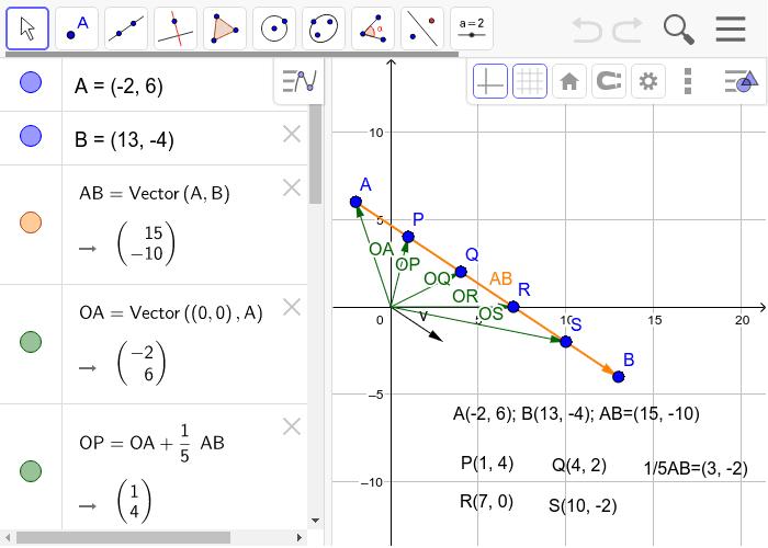 Dividir un vector en partes cinco iguales Presiona Intro para comenzar la actividad