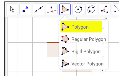 Note: The Polygon tool can be found in the Polygon menu, as shown in yellow.