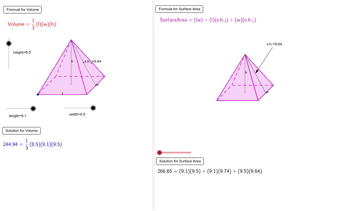 Net, Surface Area and Volume Interactive - Rectangular Pyramid