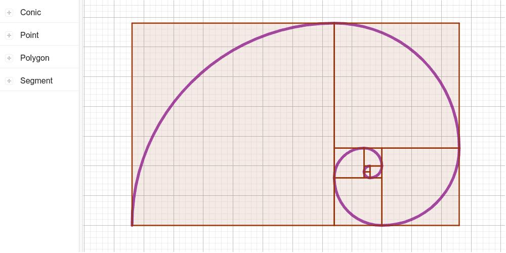 Busca la successió de Fibonacci en aquesta espiral. Busca-hi també la raó àuria. Premeu Enter per iniciar l'activitat