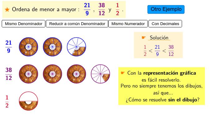 Comparando y ordenando Fracciones Presiona Intro para comenzar la actividad