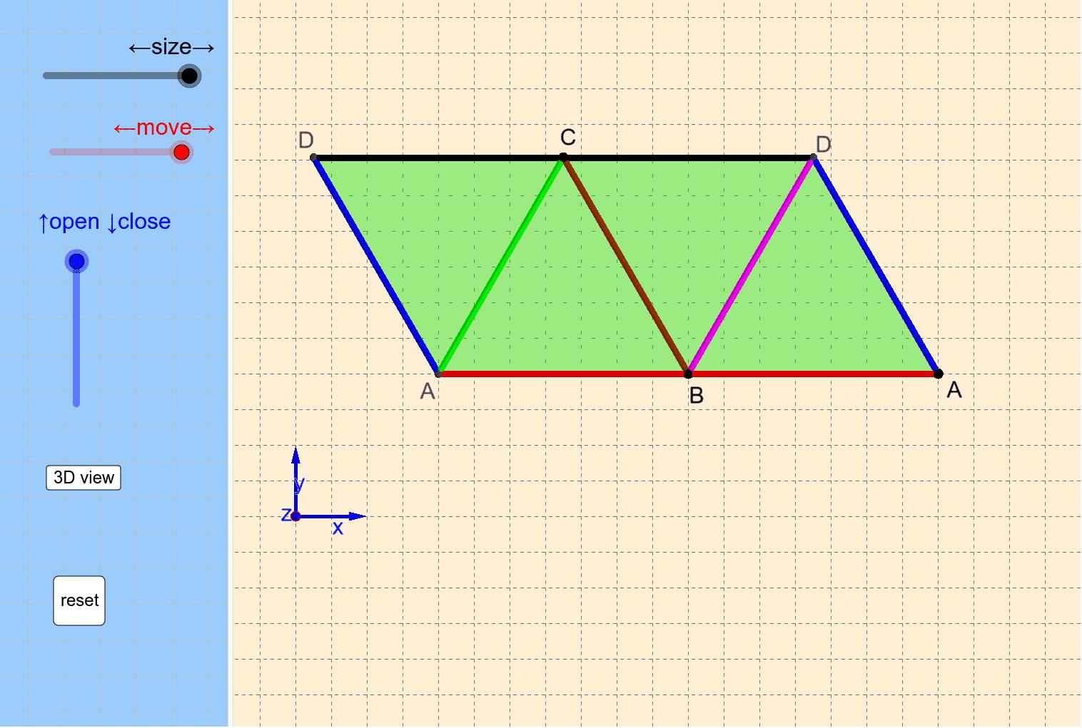 まずは,[↓ close]をドラッグ→[3D view] ※ 右下のアイコンをクリックして画面を最適化してください。 ワークシートを始めるにはEnter キーを押してください。