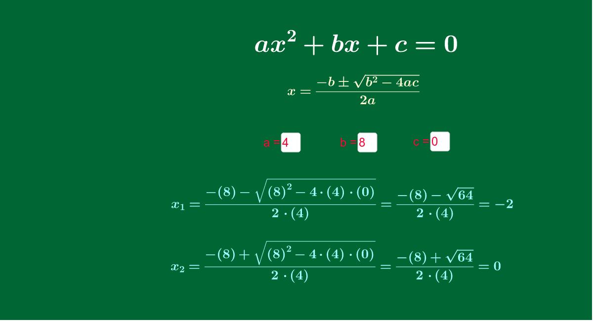 Halla las soluciones de una ecuación de segundo grado para los valores de a, b y c que tú quieras: Presiona Intro para comenzar la actividad