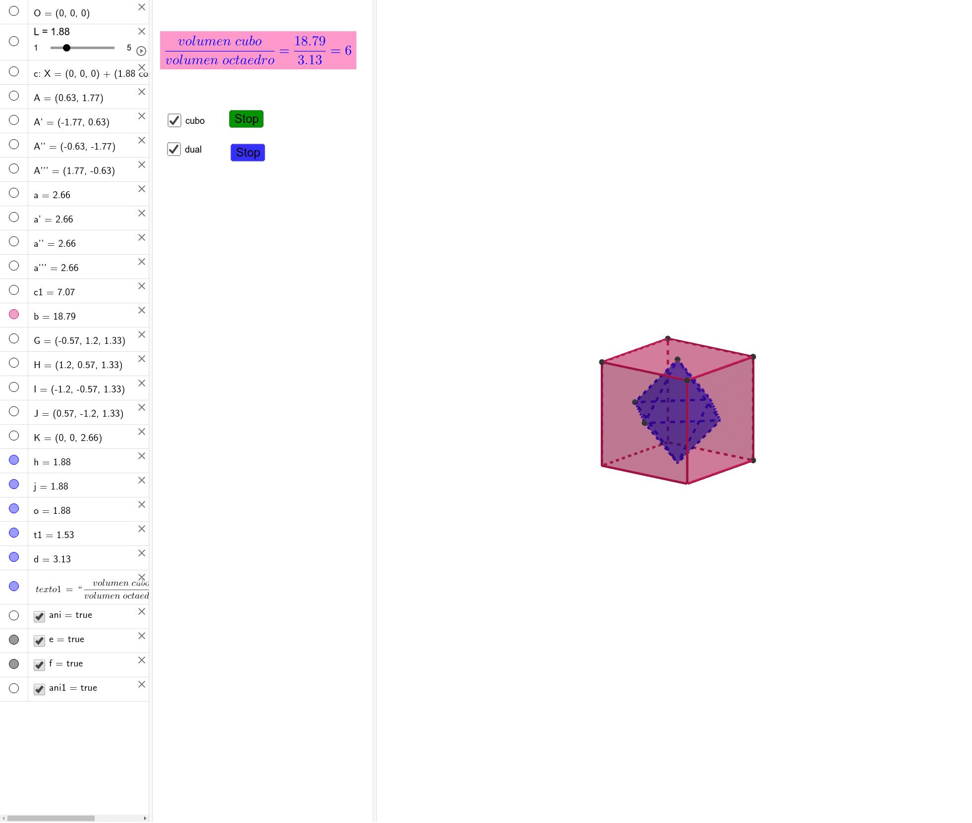 ¿Cuáles son los duales de cada uno de los sólidos platónicos? ¿Qué relación existe entre sus volúmenes? Presiona Intro para comenzar la actividad