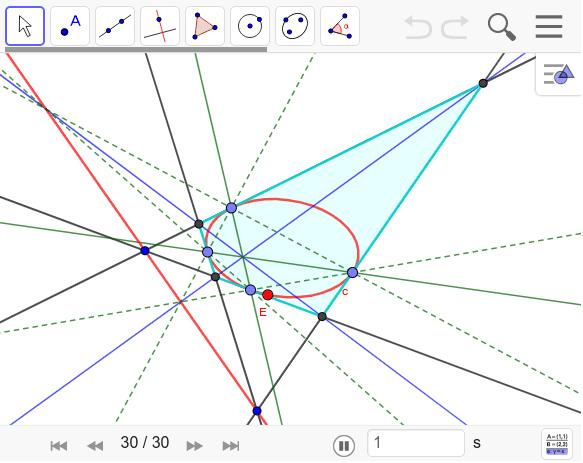 向かい合う接点を結んだ線は極線上で一点で交わらずにずれている。これを一点で交わるよう(チェバ四角形)にするにはどうしたらいいだろうか? ワークシートを始めるにはEnter キーを押してください。