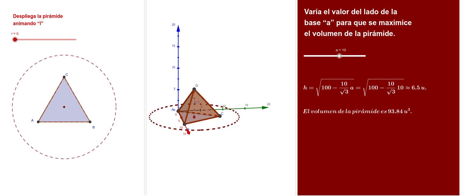 Pirámide regular de base un triángulo equilátero y caras laterales triángulos isósceles iguales. Abatiendo las caras laterales, se forma una estrella inscrita dentro de un círculo de radio 10 cm. Determina las dimensiones que maximizan el volumen.