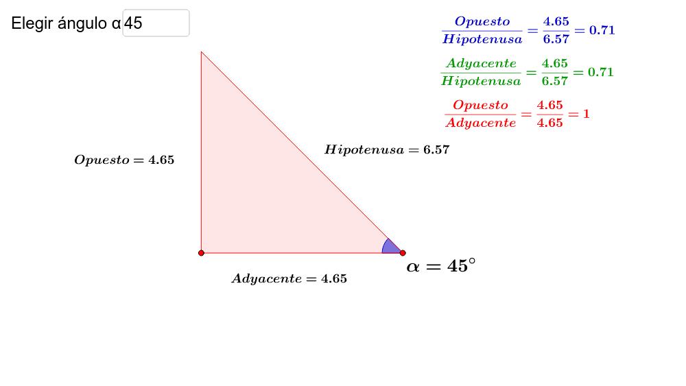 Elegir el ángulo deseado y mover los puntos para conseguir distintos triángulos rectángulos. Observá la relación existente entre la longitud de los lados. Press Enter to start activity