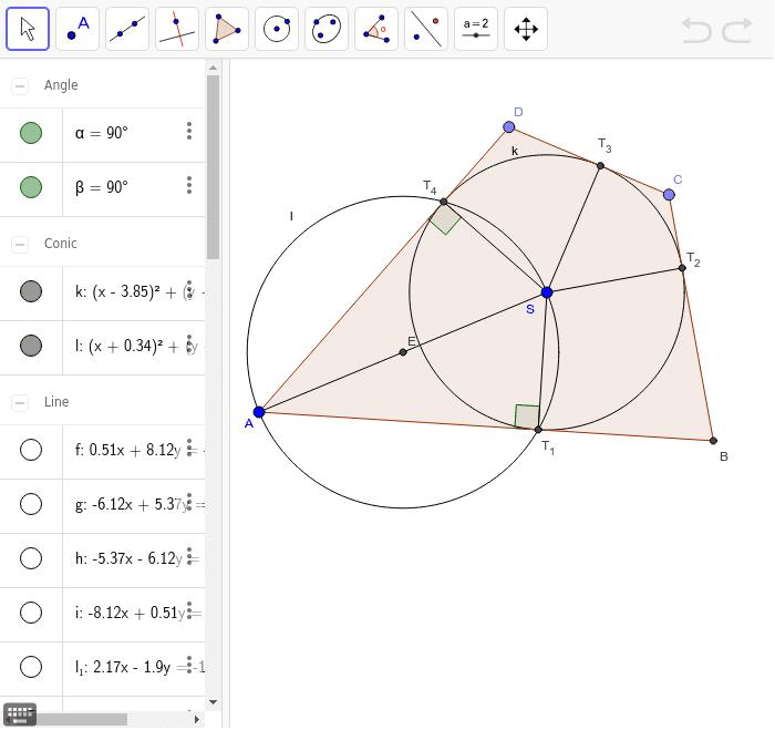Zistite, akú vlastnosť musia mať dĺžky strán štvoruholníka ABCD, aby sa mu dala vpísať kružnica k.