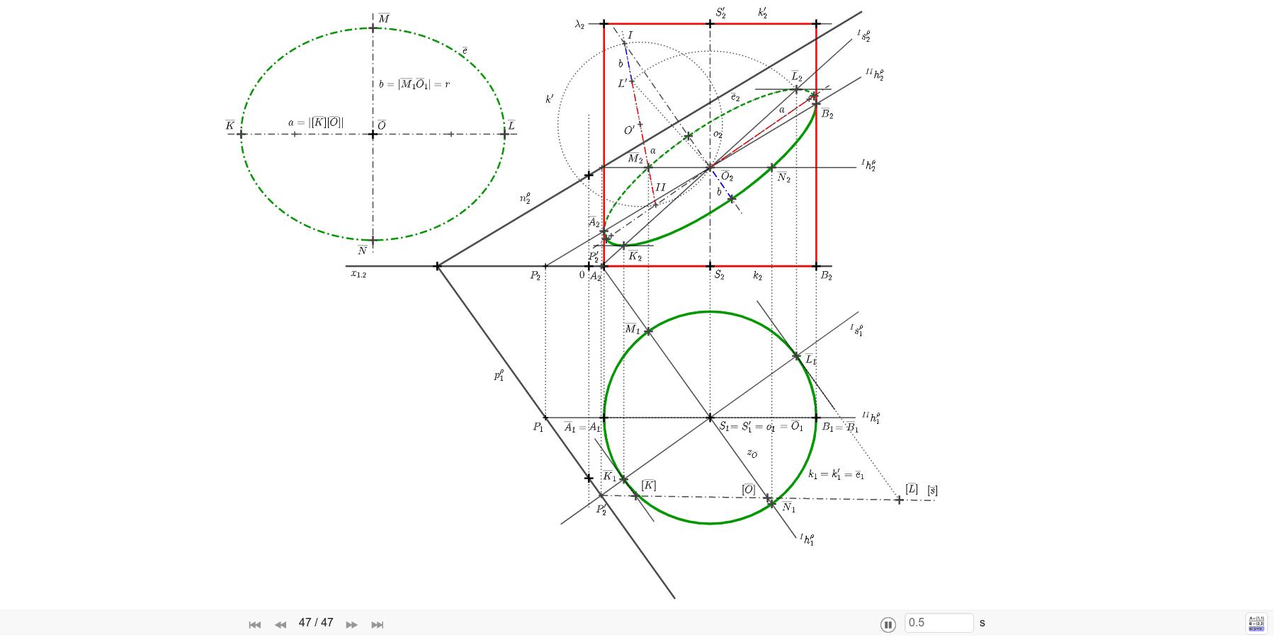 Příklad: Sestrojte řez rotačního válce rovinou ρ=(-5; 7; 3). Válec je dán osou  o=SS´ a poloměrem kružnice podstavy r=3,5, S=[4; 5; 0], S'=[4; 5; 8]. Sestrojte skutečnou velikost řezu. Zahajte aktivitu stisknutím klávesy Enter
