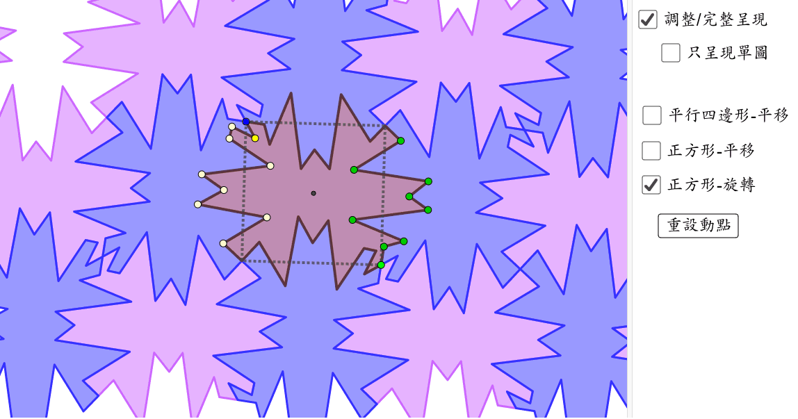除了正方形中心之外,其他點皆能移動調整,改變圖形 按 Enter 鍵開始活動