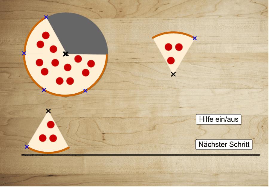 Ein Pizzastück liegt bereits unten auf dem Tisch.  Nimm die fünf anderen Stücke und lege sie so dazu, dass ein Viereck entsteht. Drücke die Eingabetaste um die Aktivität zu starten