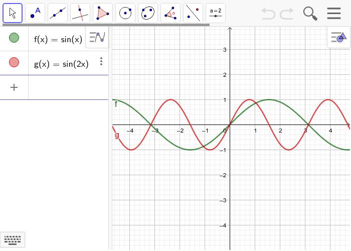 Haz visibles dos funciones seno con diferente longitud de onda