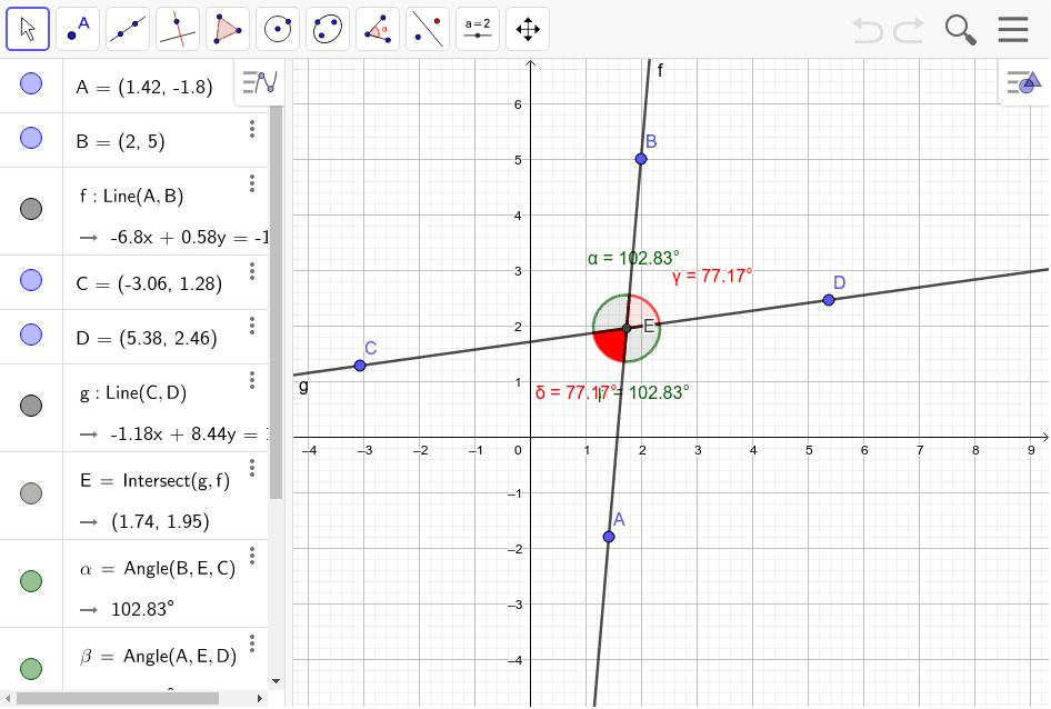 Mueve los puntos A, B, C o D y observa los ángulos verdes y rojos cuánto miden y la relación entre ellos. Presiona Intro para comenzar la actividad