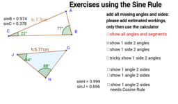 Trigonometry: Exercises for the Sine Rule