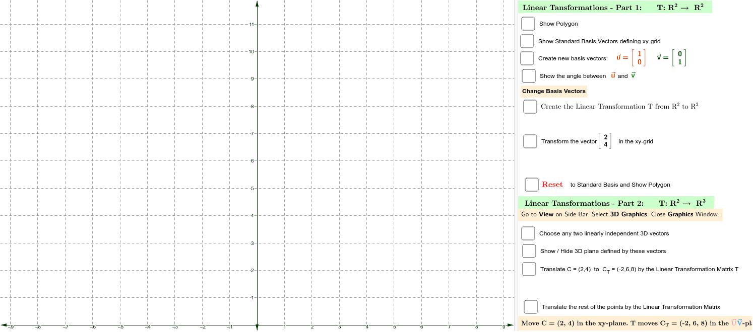 Applet - Linear Transformations - Part 1 Press Enter to start activity