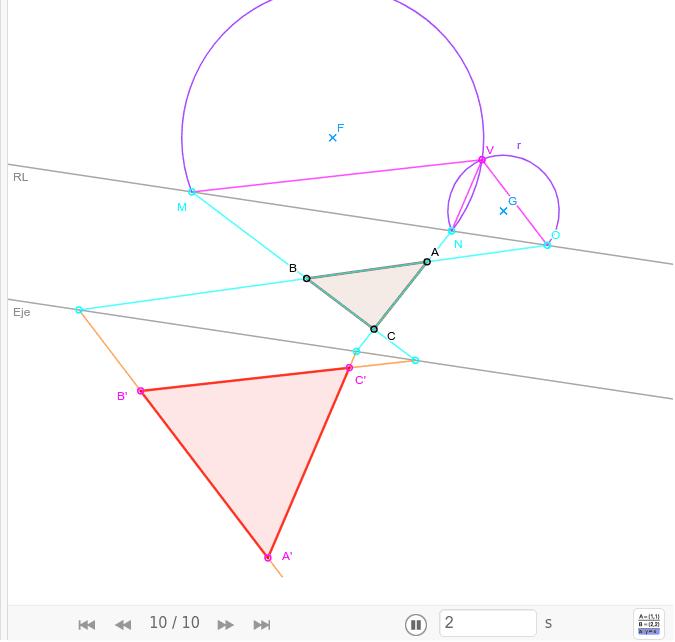 Mediante homología, transformar un triángulo cualquiera en otro equilátero