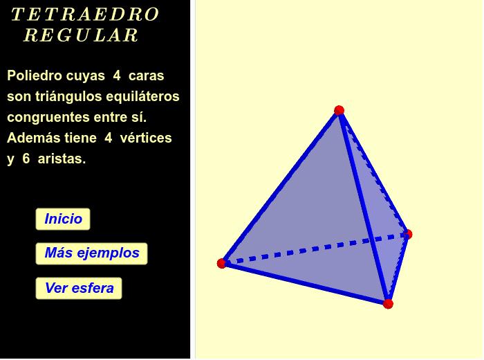 Use los botones para ver más ejemplos y también la esfera circunscrita al tetraedro regular. El botón inicio restaura todo. Las figuras geométricas se pueden desplazar y girar. Presiona Intro para comenzar la actividad