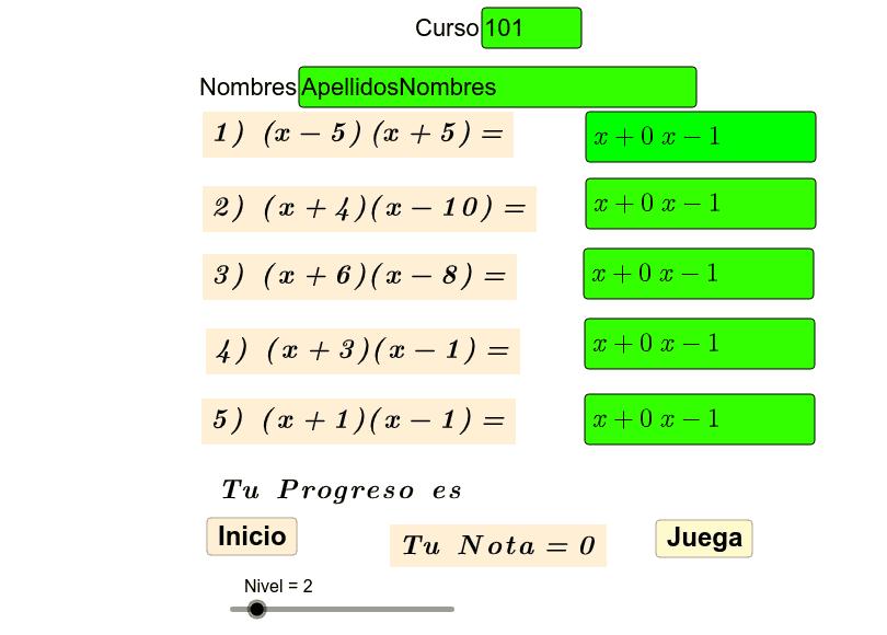 Repaso de productos notables de la forma (x+m)(x+n) Presiona Intro para comenzar la actividad