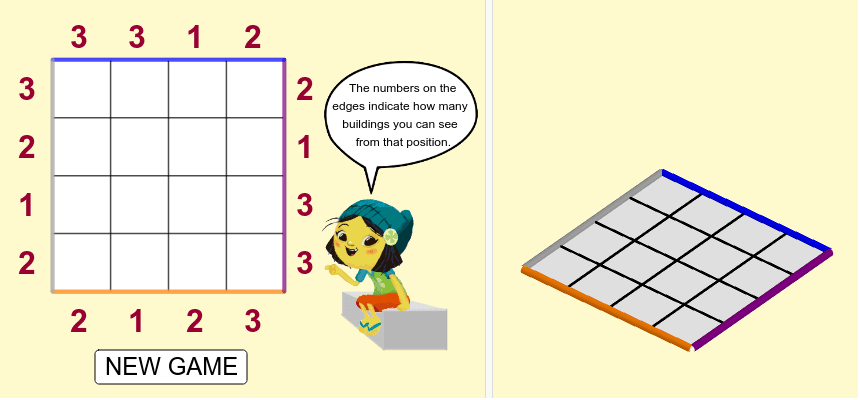 Each row/column must contain one different color building. Click on each square to change the buildings.  Press Enter to start activity