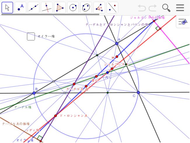 ナーゲル点の極線はド・ロンシャン点とナーゲル点を結んだ線と直交する。ナーゲル線と極線が直交する点があるはず。 ワークシートを始めるにはEnter キーを押してください。
