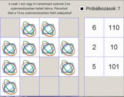 Szám 10-es és 2-es számrendszerbeli alakja - memória játék