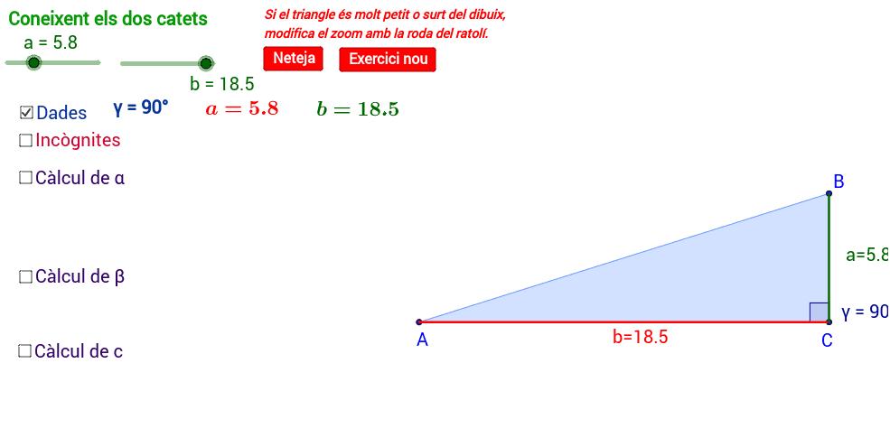 Resolució d'un triangle coneixent els dos catets.