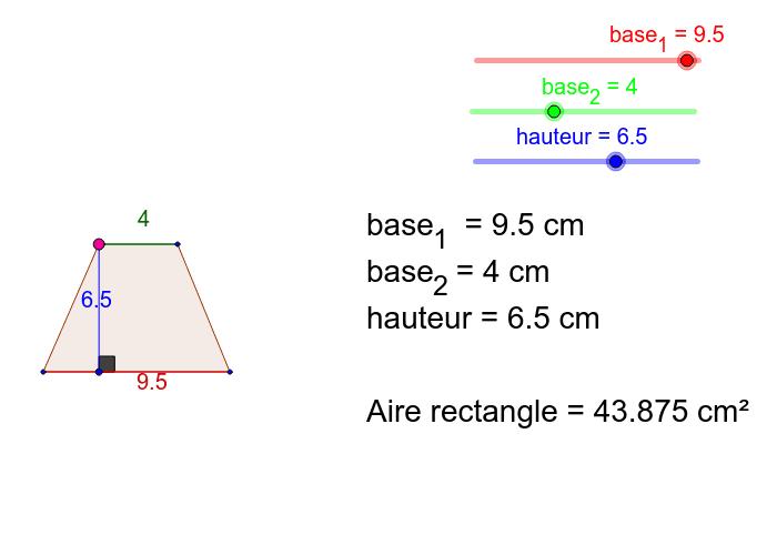 """Déplacez les curseurs """"base 1"""", """"base 2"""" et """"hauteur"""" afin de découvrir la formule d'aire Tapez """"Entrée"""" pour démarrer l'activité"""