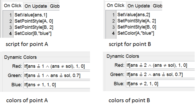 Points A and B get scripts and dynamic coloring for feedback