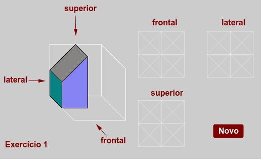 Clique nos segmentos das vistas frontal, lateral e superior para definí-los: linha cheia, tracejada ou apaga.   Press Enter to start activity