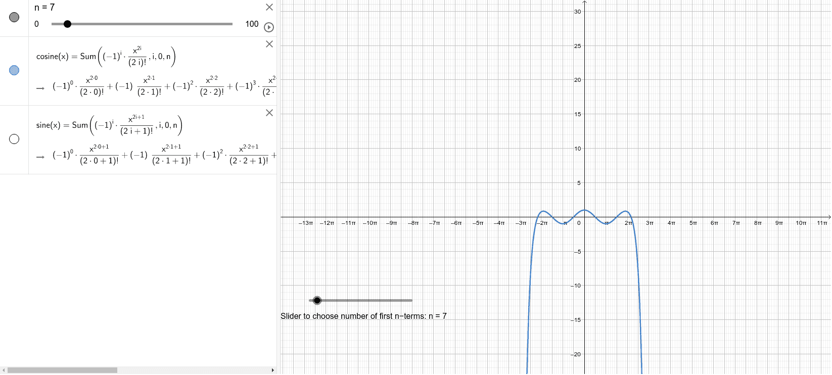 Move the slider to select number of first n-terms of the Taylor's series expansion for sine and cosine