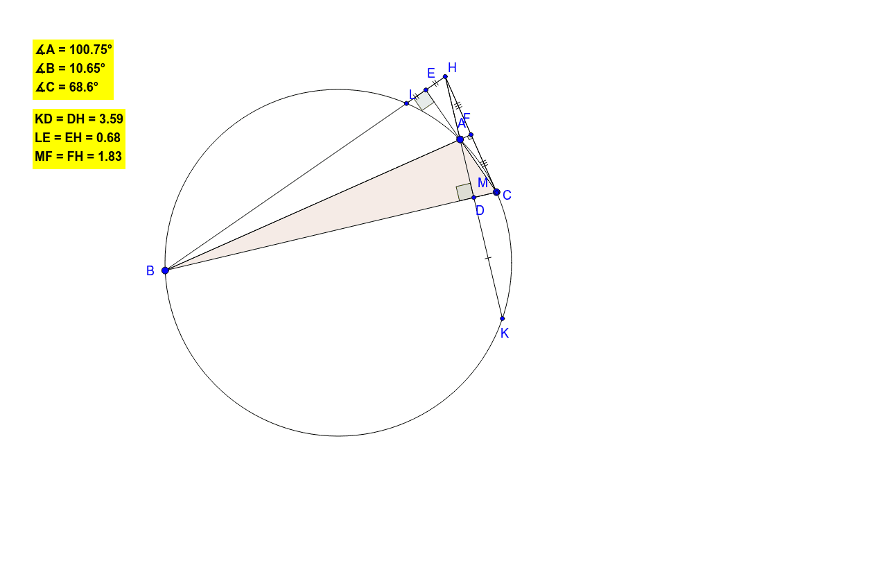 While dragging the triangle's vertices, one can see the equal segments (i.e.the segments with their midpoint).