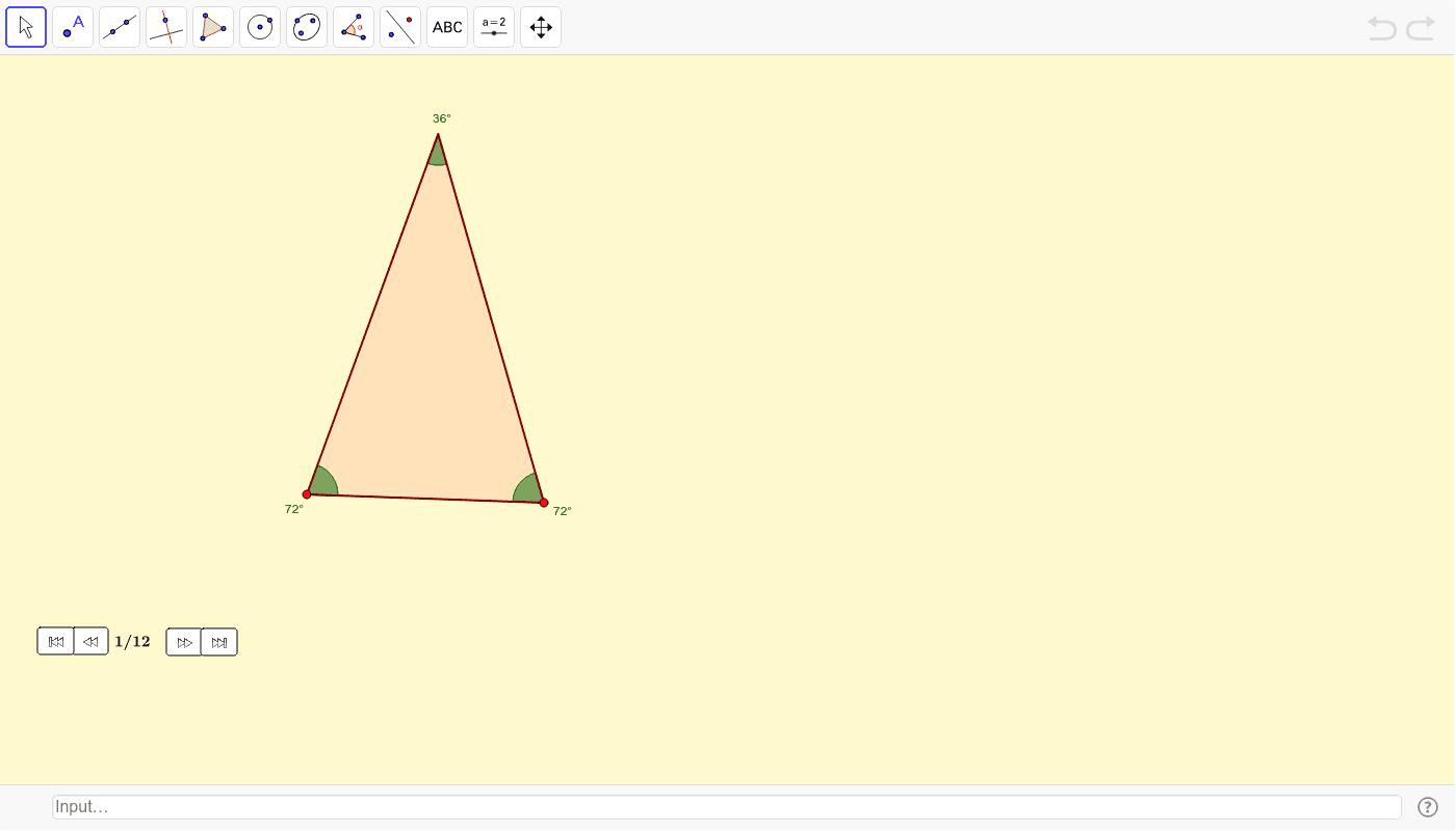 Mediante triángulos áureos Presiona Intro para comezar a actividade