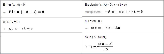 Berechne t für Schnittpunkt der Geraden g(t) allgemein